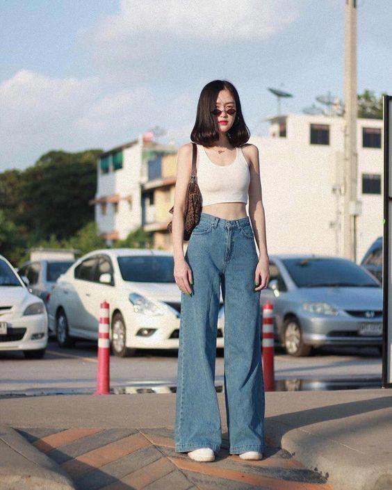 phối quần jean ống rộng, Phối quần Jean ống rộng với những mẫu áo CÁ TÍNH vừa SANG vừa XỊN